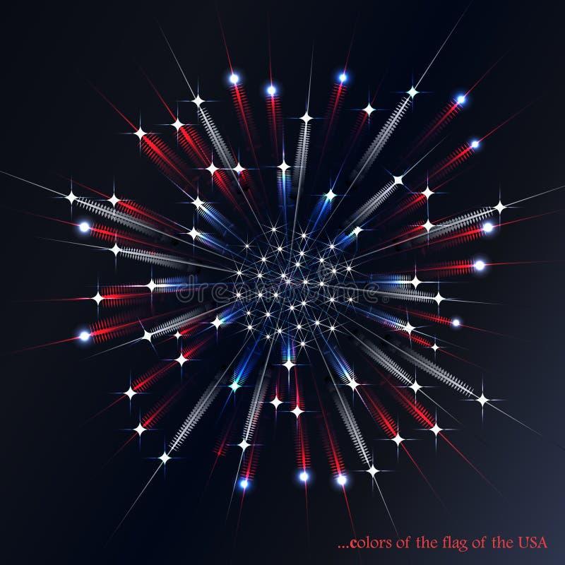 在美国国旗的颜色的烟花 库存例证