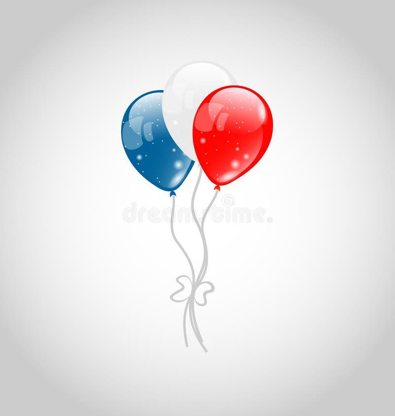 在美国国旗颜色的飞行气球 库存例证