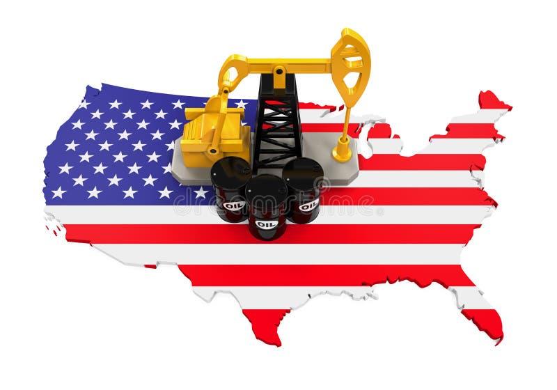 在美国地图的油泵和油桶 皇族释放例证