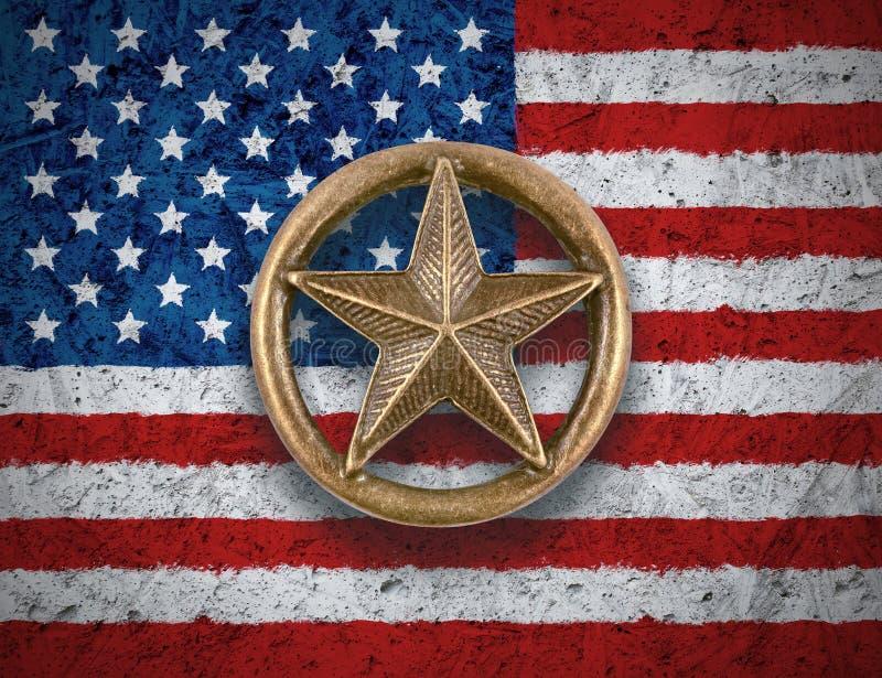 在美国旗子背景的古铜色星 库存照片