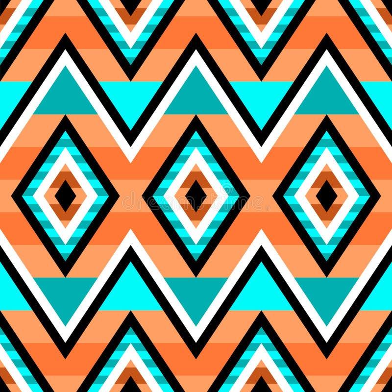 在美国本地人样式的无缝的几何样式 种族现代装饰品 库存例证