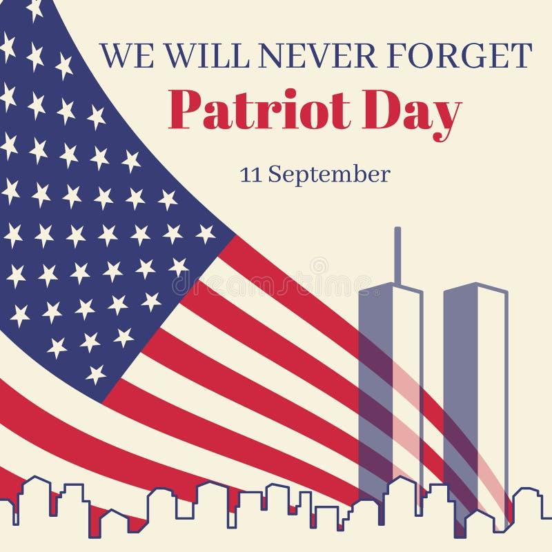 在美国正方形横幅的爱国者天 与美国国旗和提醒题字的卡片 城市的剪影和 库存例证