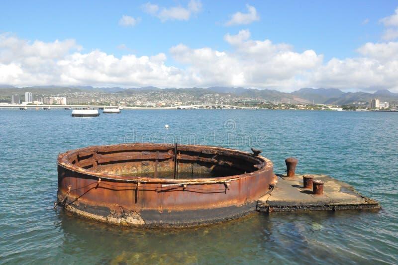 在美国海军亚利桑那号战列舰纪念馆的炮塔珍珠港的,夏威夷 免版税库存图片