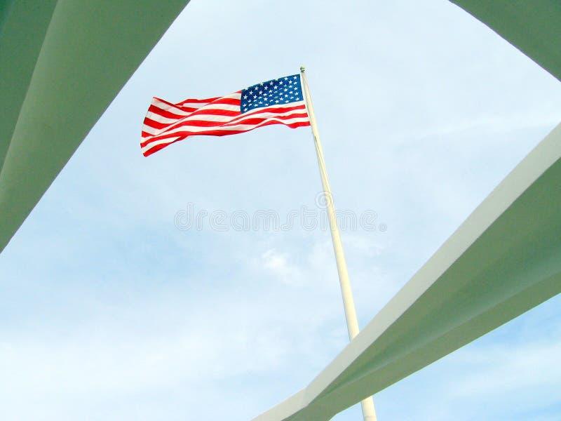 在美国海军亚利桑那号战列舰纪念馆的老荣耀 免版税库存图片