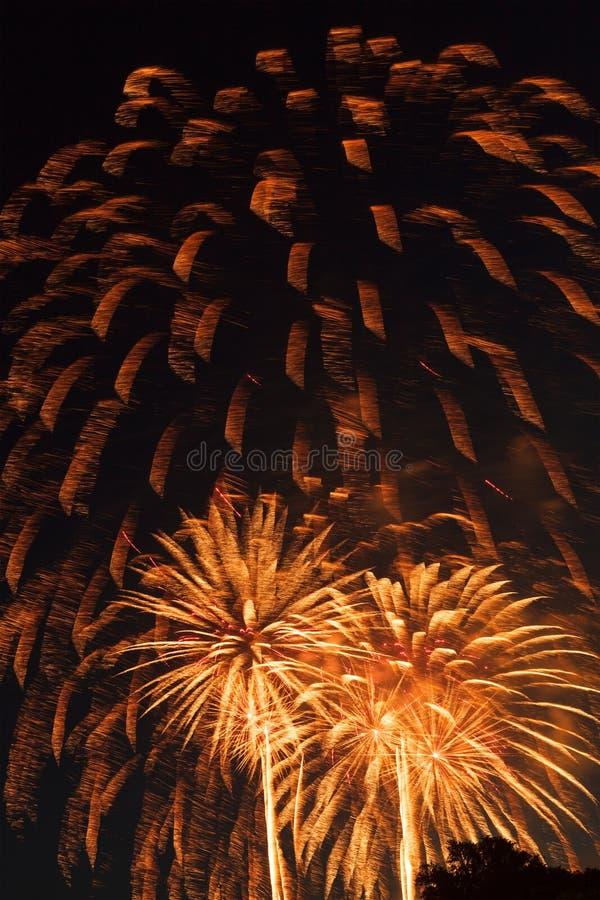 在美国独立日的美好的fireworkds显示 库存图片