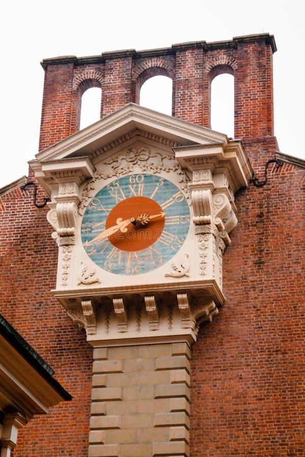 在美国独立纪念馆背面的Clocktower在费城宾夕法尼亚 免版税图库摄影