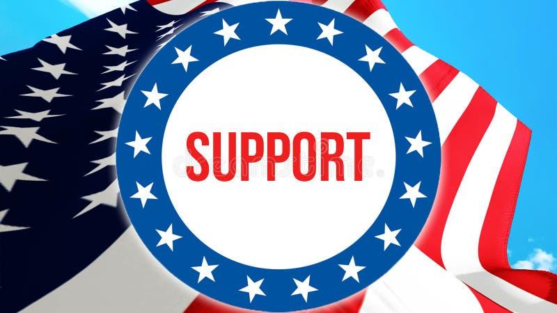 在美国背景的支持竞选,3D翻译 美国沙文主义情绪在风 投票,自由民主, 向量例证