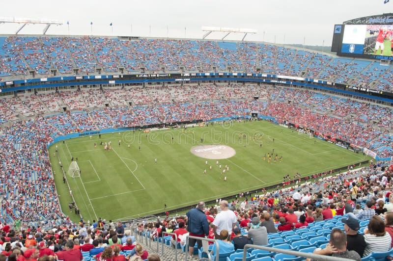 在美国银行体育场的足球 免版税图库摄影