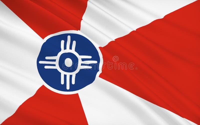 在美国,最大的现场o陈述惠科塔旗子-一个城市 库存例证