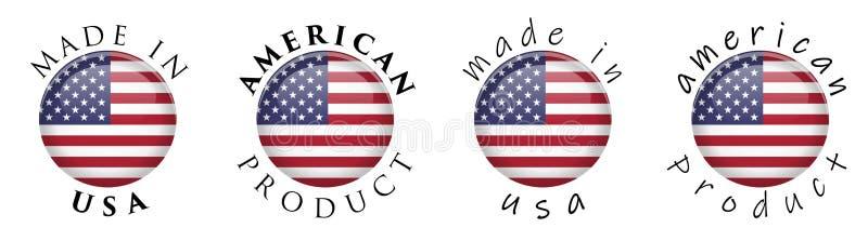 在美国/美国产品3D按钮标志做的简单 文本aroun 向量例证