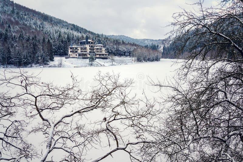在美好的多雪的冬天森林风景的孤零零大厦,冻Brezova水坝 库存图片