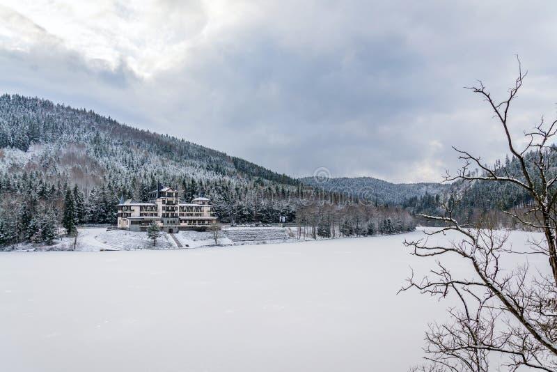在美好的多雪的冬天森林风景的孤零零大厦,冻Brezova水坝 免版税库存照片