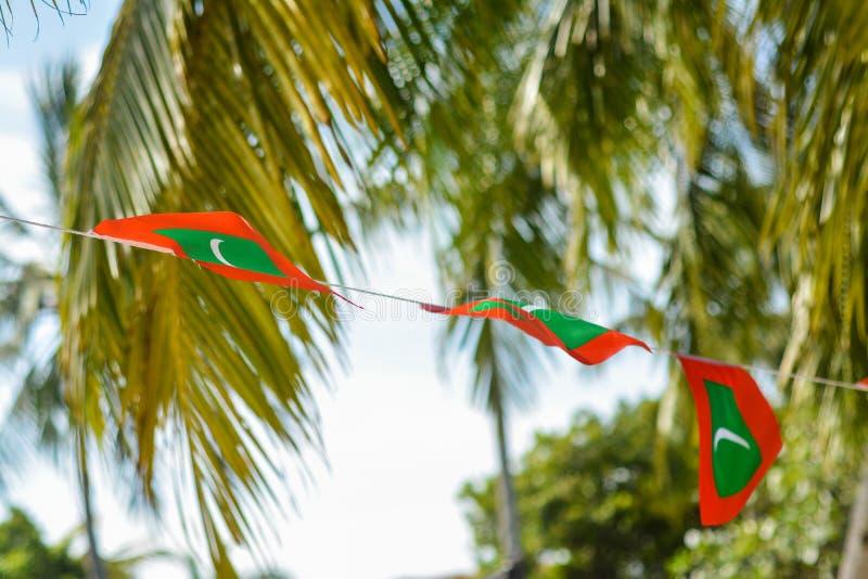 在美好的大风天期间,在绳索的马尔代夫红色绿色国旗 免版税库存图片