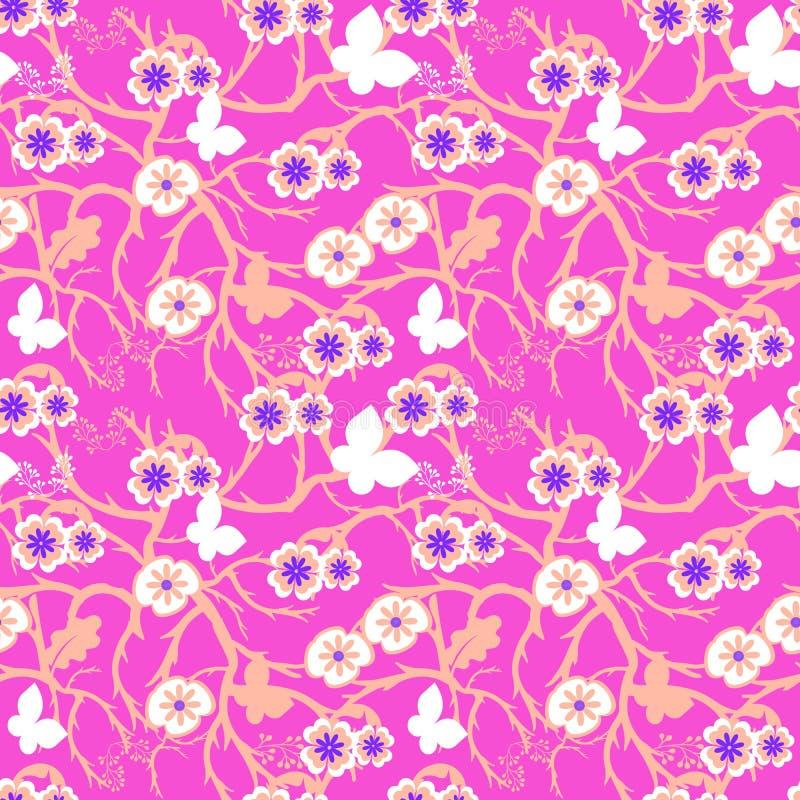 在美好的桃红色背景的生动的花卉无缝的样式瓦片 皇族释放例证