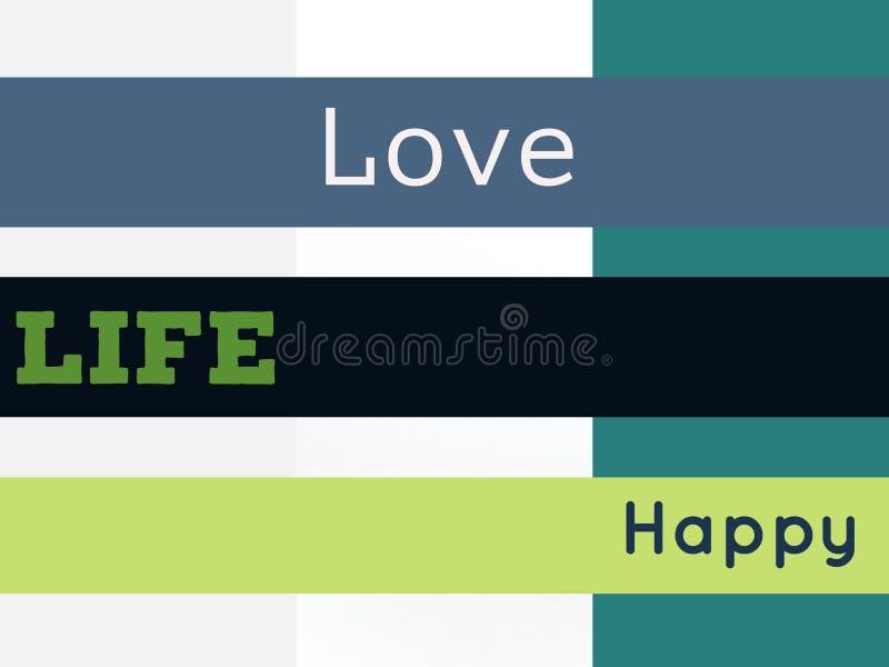 在美好的背景颜色的爱生活愉快的词 皇族释放例证