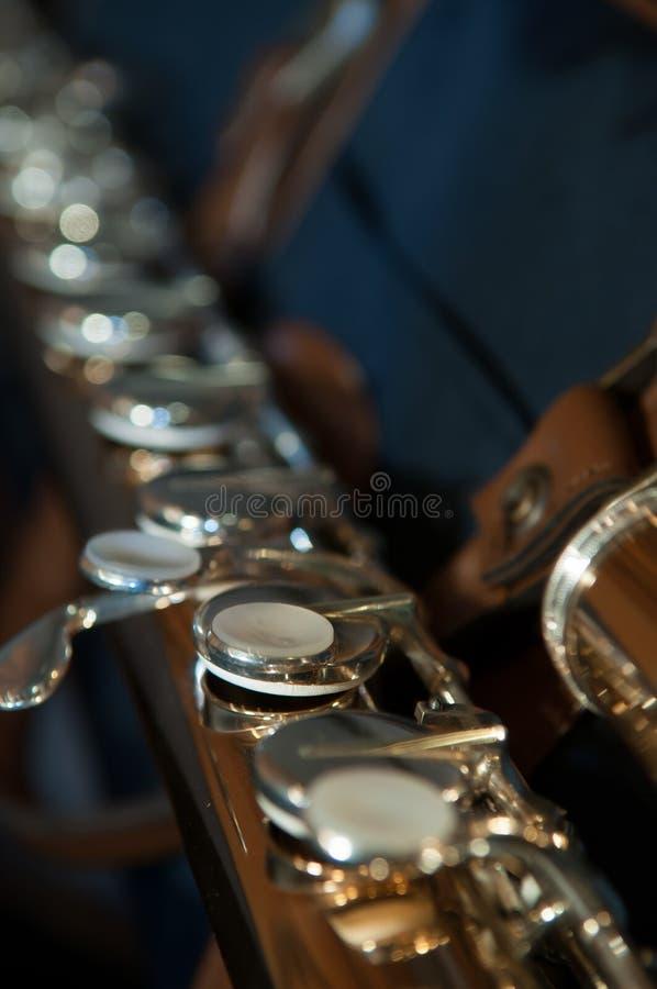 在美妙地优美的低音长笛钥匙的特写镜头 免版税图库摄影