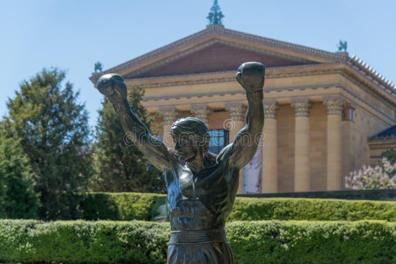 在美术馆的岩石雕象在费城 库存图片