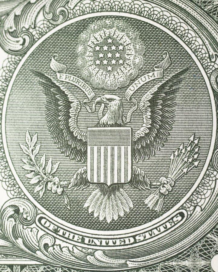 在美金的冠伟大的老鹰 免版税库存图片