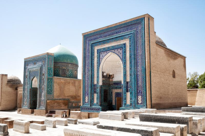 在老丝绸之路的Shah-i-Zinda合奏在撒马而罕, Uzbekis 免版税库存图片
