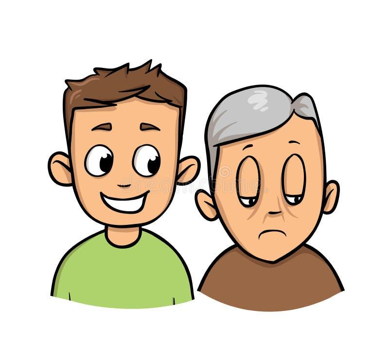 在老人的年轻人smilig 孙子和祖父 平的传染媒介例证 背景查出的白色 库存例证