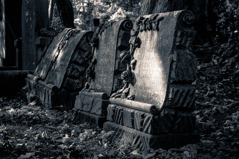在老公墓的古老理葬 库存图片