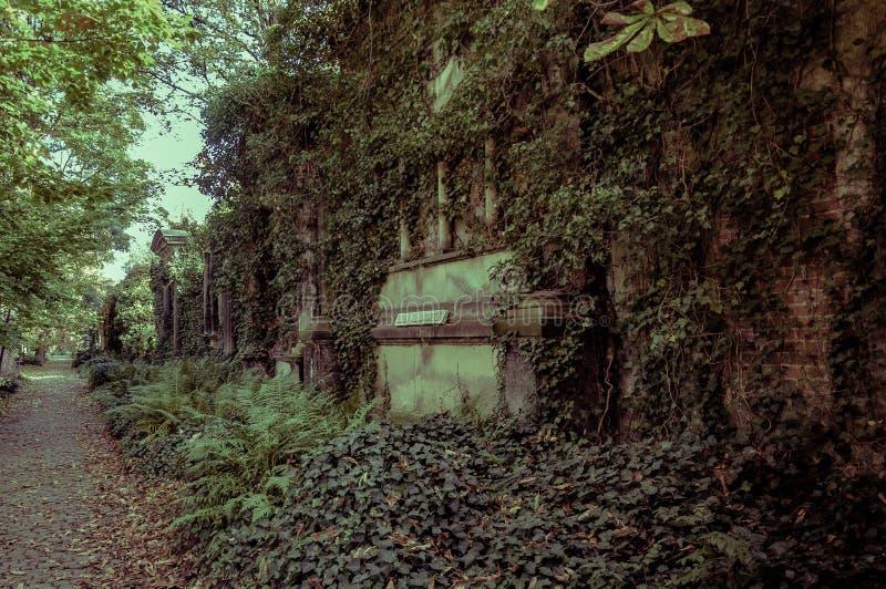 在老公墓的古老理葬 库存照片