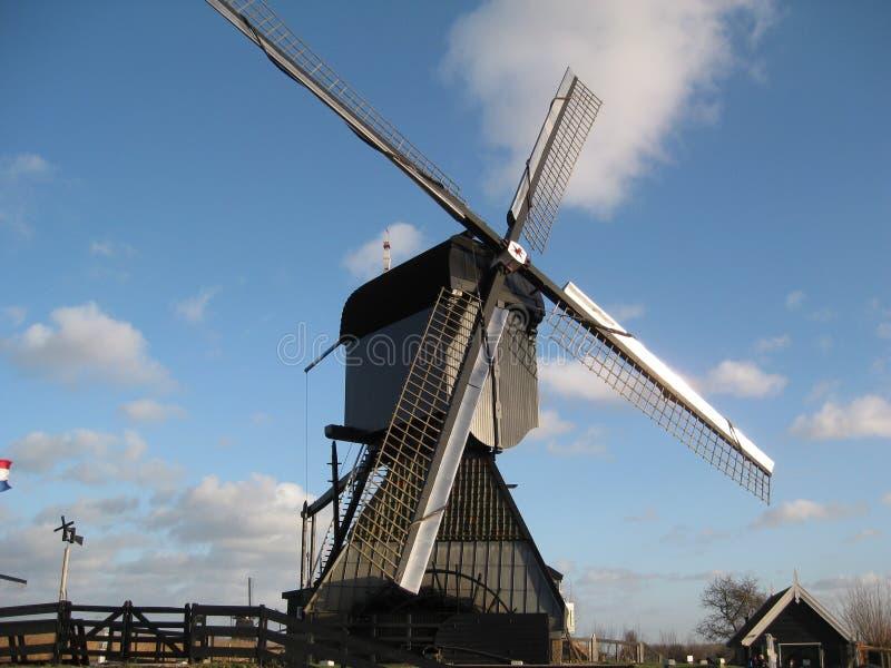 在老农场位于的更加当代的风车小孩堤防在鹿特丹,荷兰附近 免版税库存图片