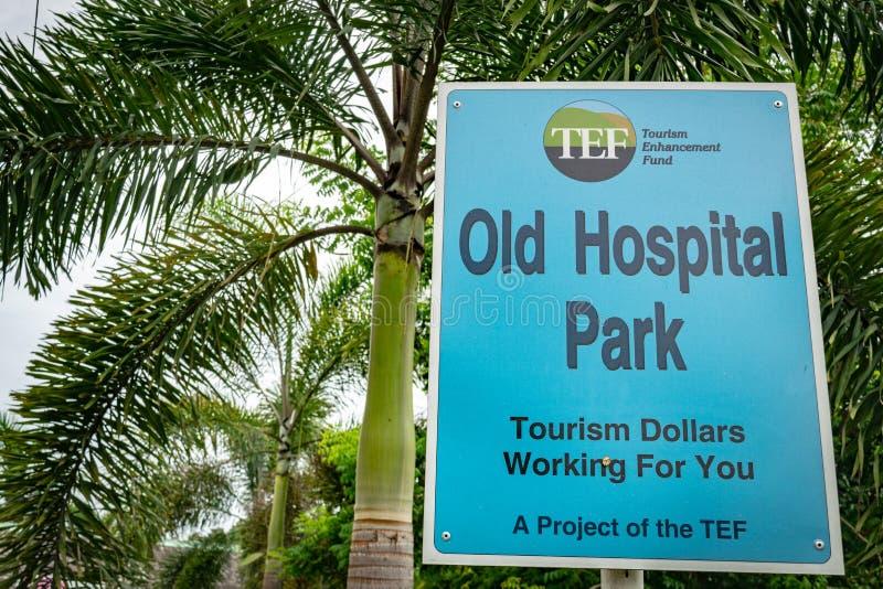 在老医院公园的标志在蒙特奇湾,牙买加 库存图片