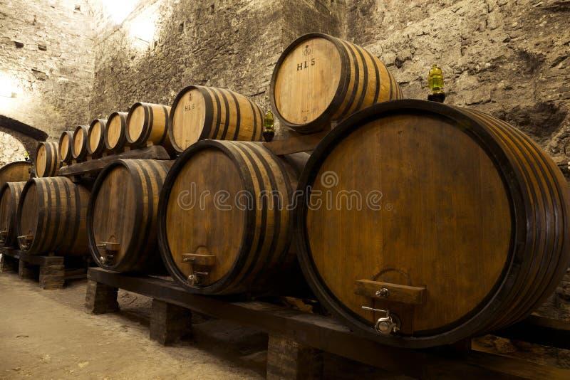 在老地窖里堆积的葡萄酒桶 免版税库存照片