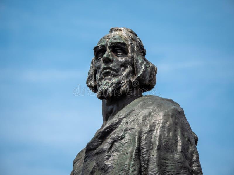 在老城广场,布拉格的扬・胡斯纪念细节 库存照片