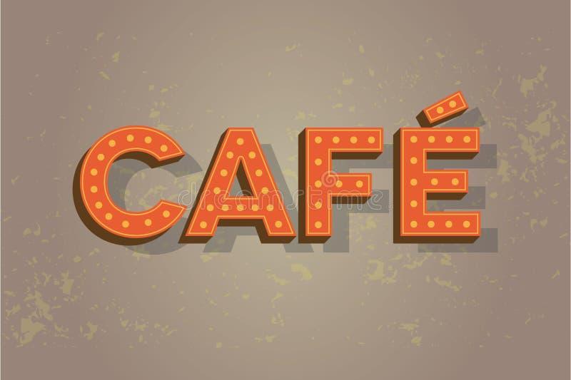 在老墙壁上的咖啡馆霓虹灯广告-咖啡符号 向量例证
