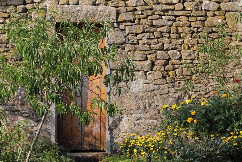 在老墙壁的门 免版税库存照片