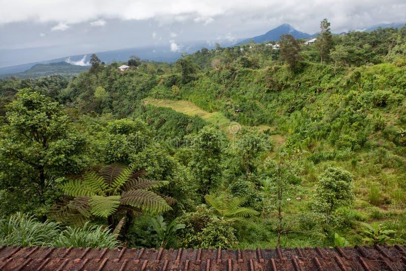 在老大火山破火山口位于的村庄  免版税库存图片