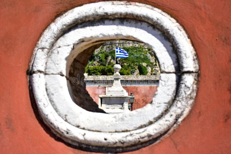 在老威尼斯式堡垒看见的希腊旗子科孚岛Kerkyra 库存照片