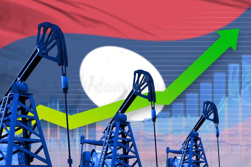 在老挝人人民主共和国旗子背景-老挝人人民主共和国石油的工业例证的增长的图表 库存例证