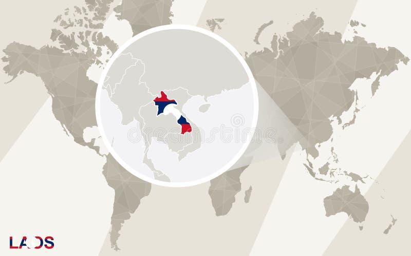 在老挝地图和旗子的徒升 例证映射旧世界 向量例证