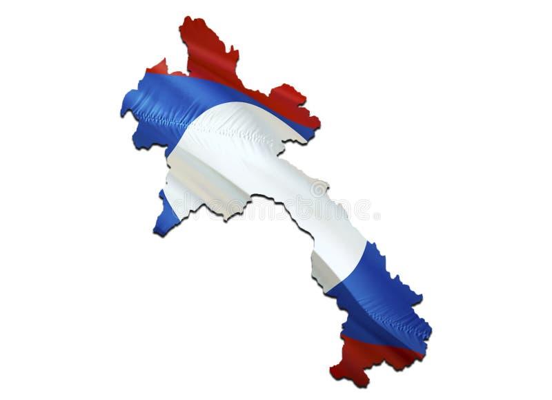 在老挝挥动的旗子的地图 回报老挝地图和挥动在亚洲地图的3D旗子 老挝的国家标志 在亚洲的老挝旗子 皇族释放例证