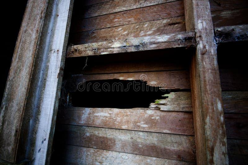 在老木墙壁的孔 免版税库存照片