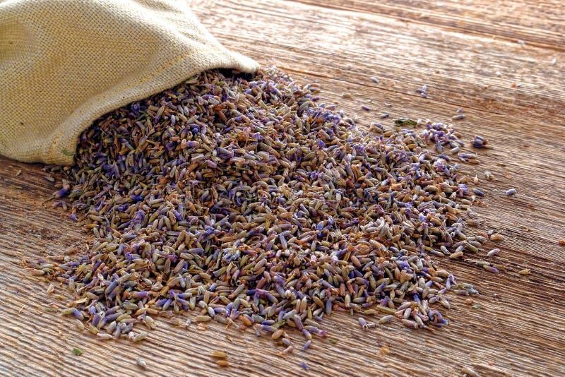 在老木头的干燥淡紫色种子和粗麻布袋 免版税库存图片