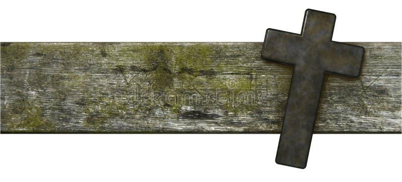 在老木板条的基督徒十字架 免版税库存图片