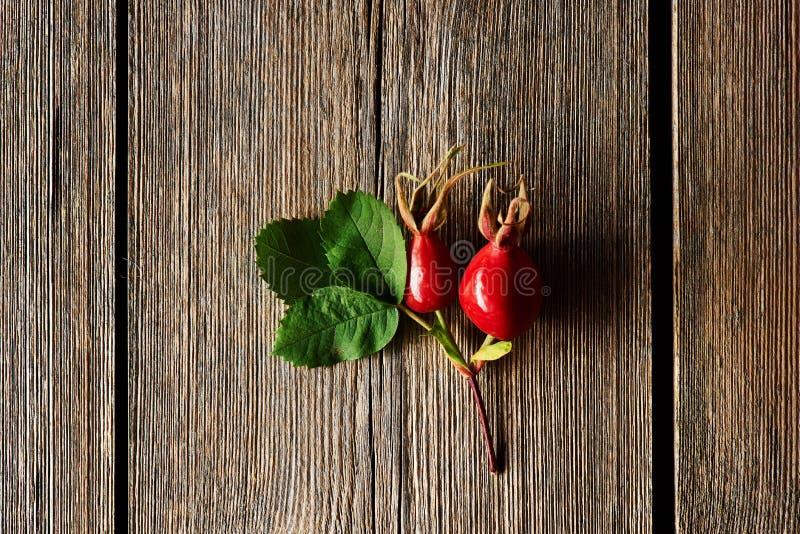 在老木背景的玫瑰果 免版税库存图片
