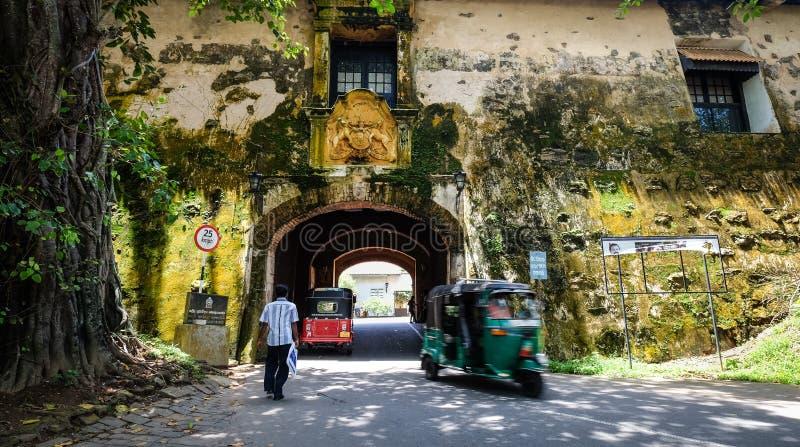 在老殖民地堡垒加勒的街道在斯里兰卡 免版税库存图片