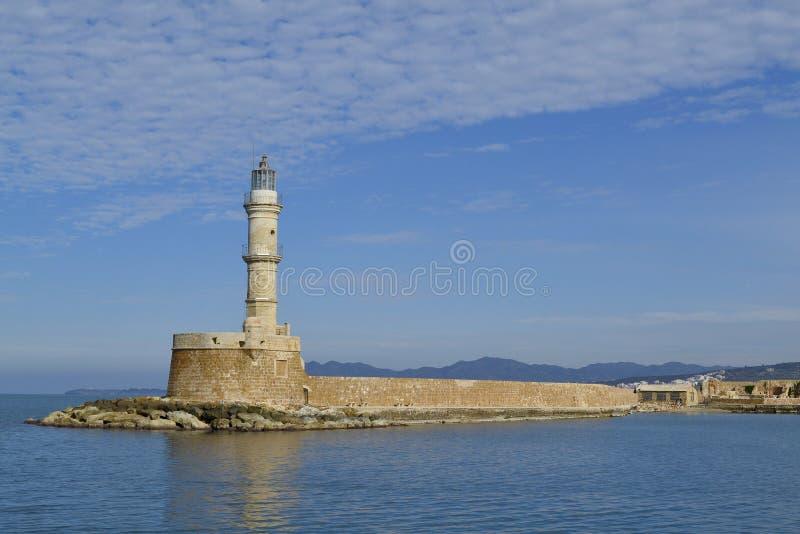 在老港口,干尼亚州,克利特,希腊的埃及灯塔 免版税库存图片