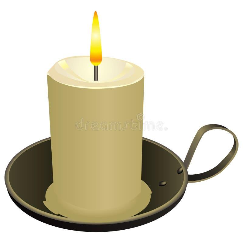 在老烛台的蜡烛 向量例证