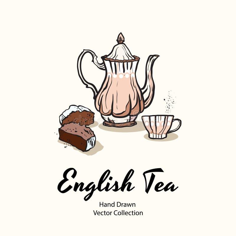 在老牌的桃红色茶壶、杯子和杯形蛋糕手拉的传染媒介例证咖啡馆菜单的,商标,横幅,flayer 库存例证