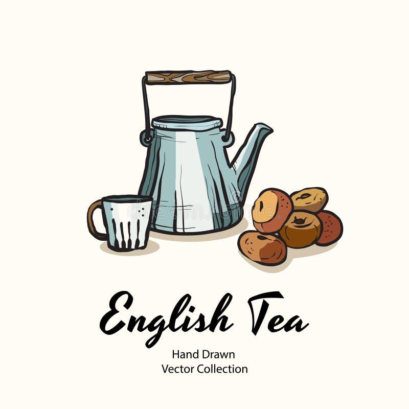 在老牌的蓝色茶壶、杯子和油炸圈饼手拉的传染媒介例证咖啡馆菜单的,商标,横幅,flayer 库存例证