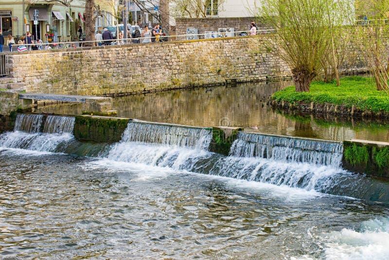 在老的小瀑布水轮埃福特,德国 库存图片