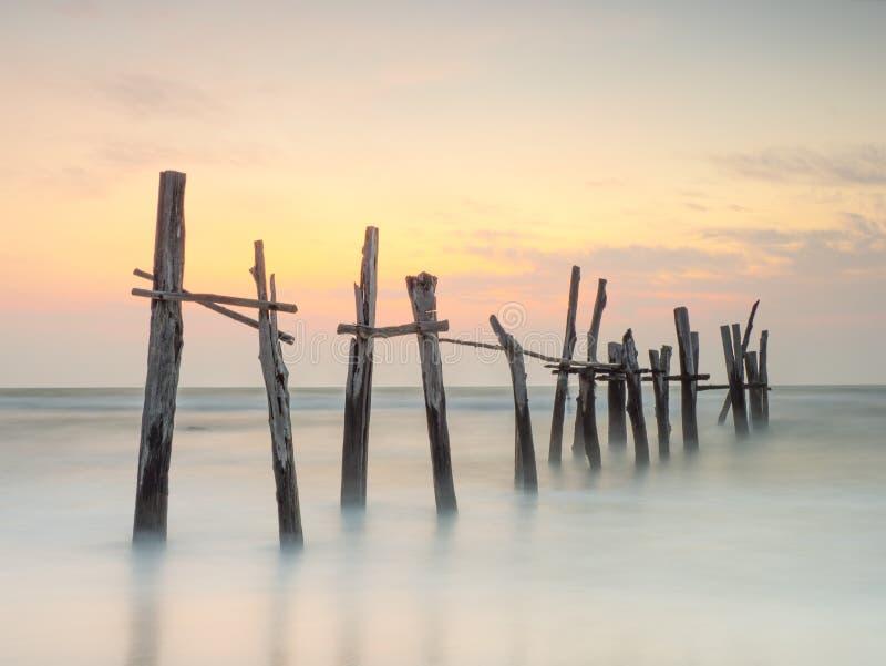 在老码头的早晨光 库存图片