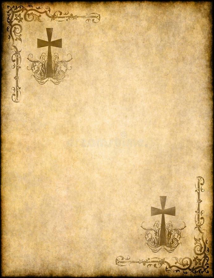 在老纸张或羊皮纸的基督徒交叉 向量例证