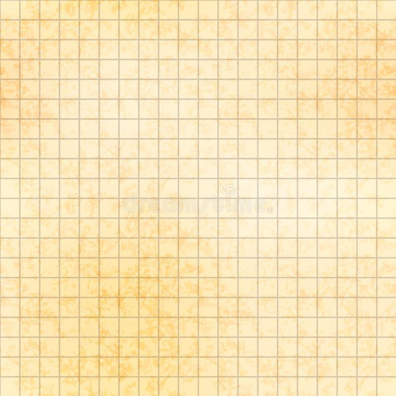 在老纸的五毫米栅格与纹理,无缝的样式 向量例证